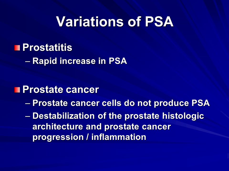 Variations of PSA Prostatitis Prostate cancer Rapid increase in PSA