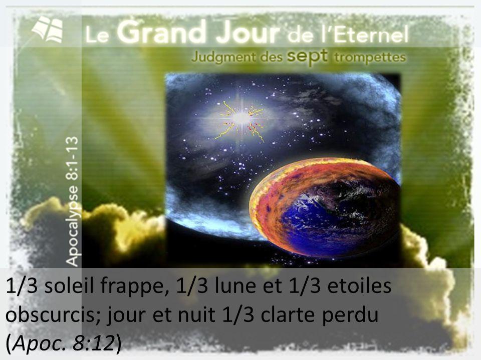 1/3 soleil frappe, 1/3 lune et 1/3 etoiles obscurcis; jour et nuit 1/3 clarte perdu
