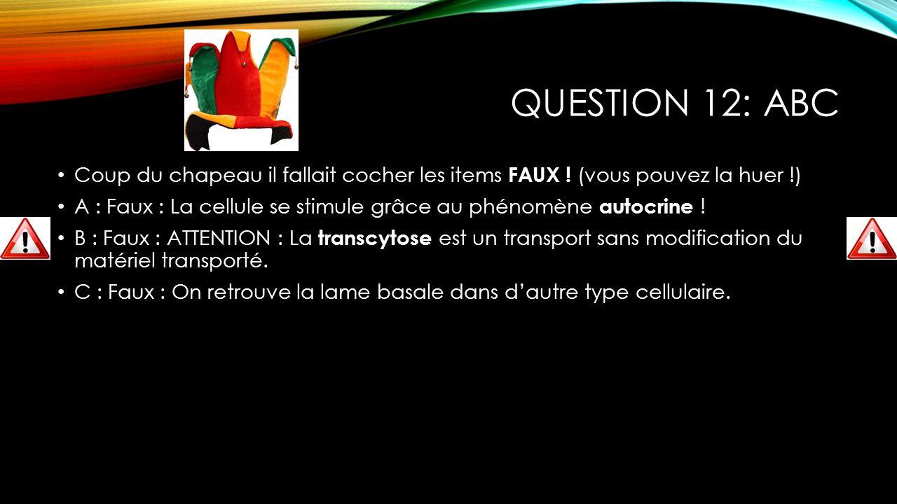 Question 12: ABC Coup du chapeau il fallait cocher les items FAUX ! (vous pouvez la huer !)