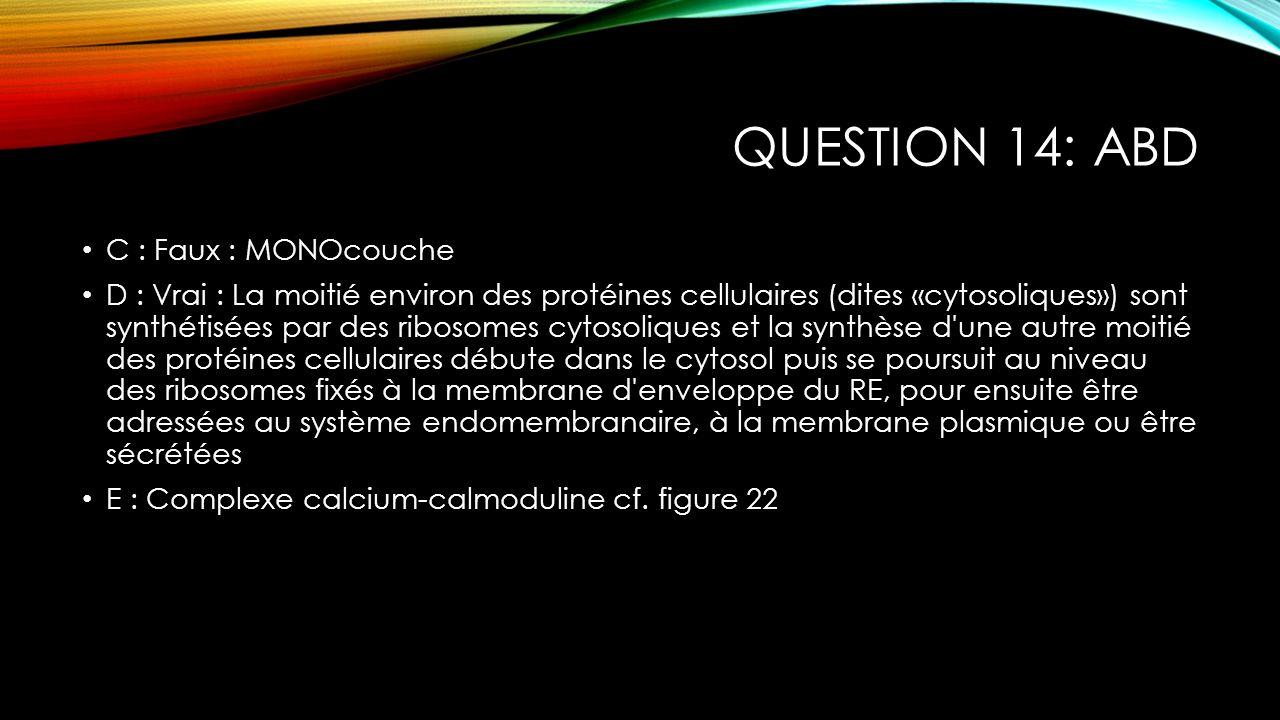 Question 14: ABD C : Faux : MONOcouche