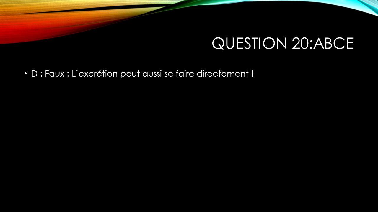 Question 20:ABCE D : Faux : L'excrétion peut aussi se faire directement !