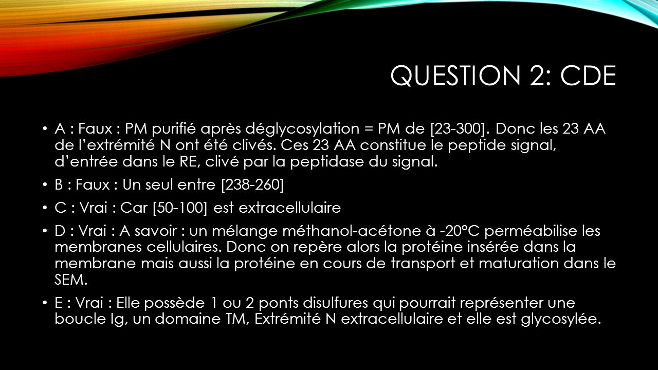 Question 2: CDE