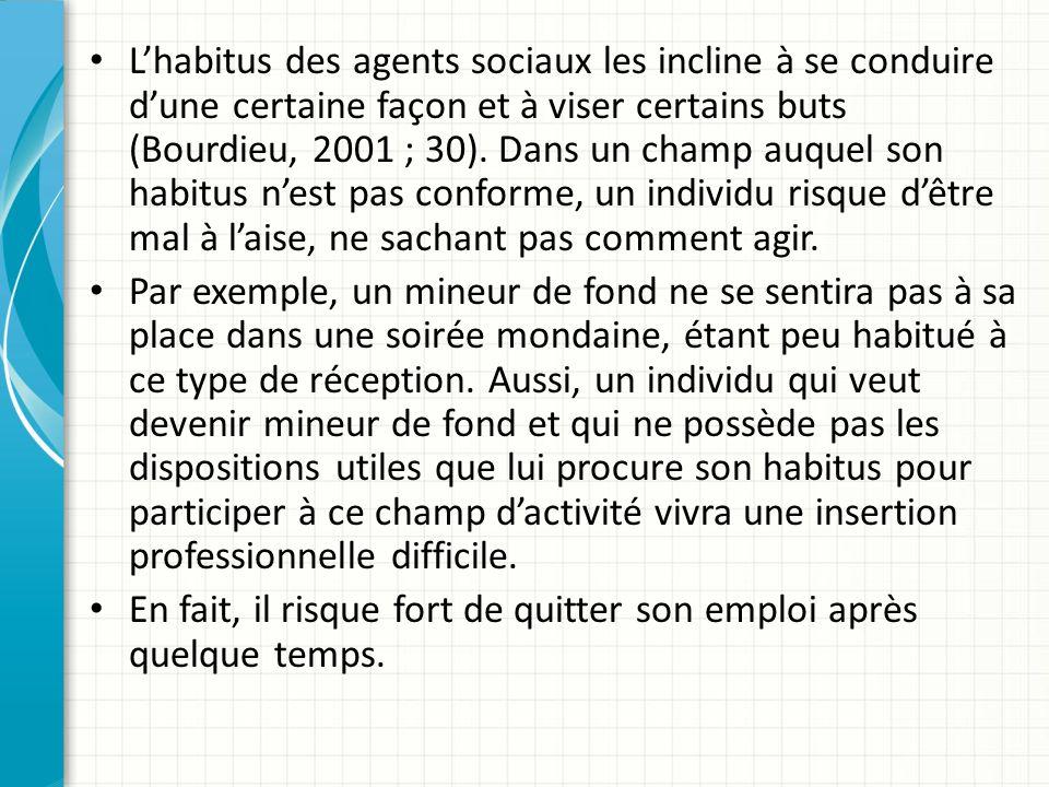 L'habitus des agents sociaux les incline à se conduire d'une certaine façon et à viser certains buts (Bourdieu, 2001 ; 30). Dans un champ auquel son habitus n'est pas conforme, un individu risque d'être mal à l'aise, ne sachant pas comment agir.