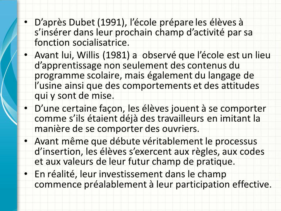 D'après Dubet (1991), l'école prépare les élèves à s'insérer dans leur prochain champ d'activité par sa fonction socialisatrice.