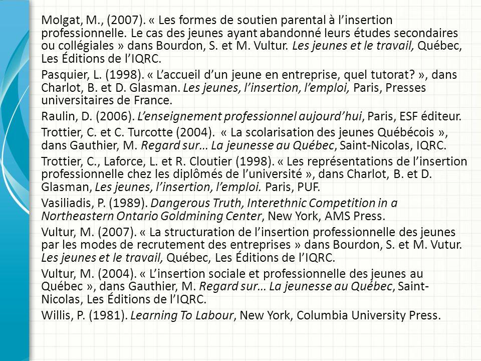 Molgat, M., (2007). « Les formes de soutien parental à l'insertion professionnelle.