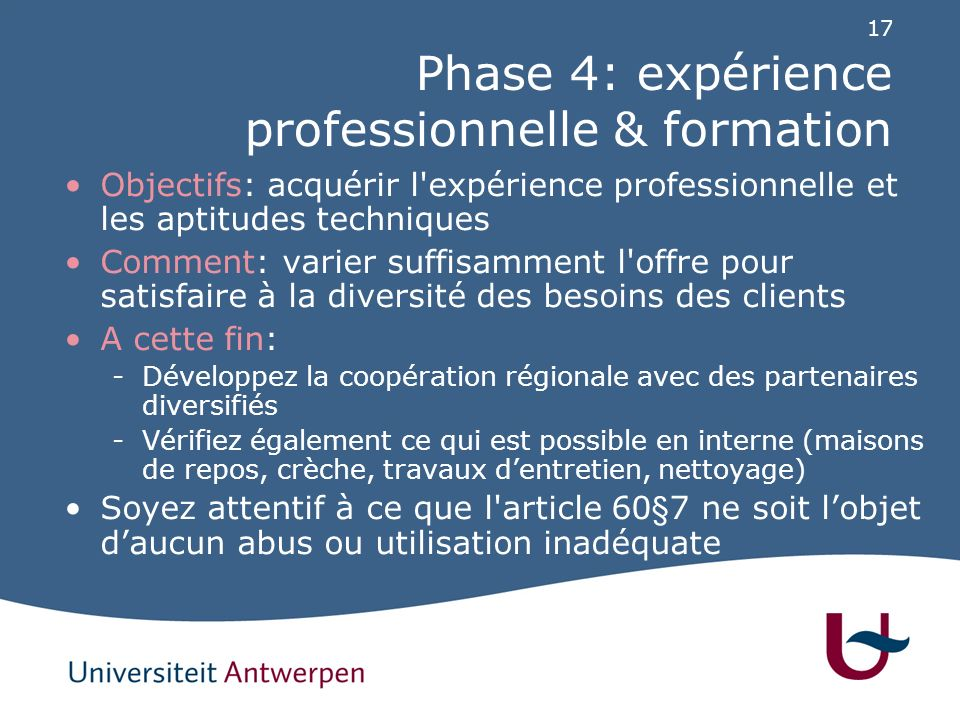 Phase 5: activation professionnelle