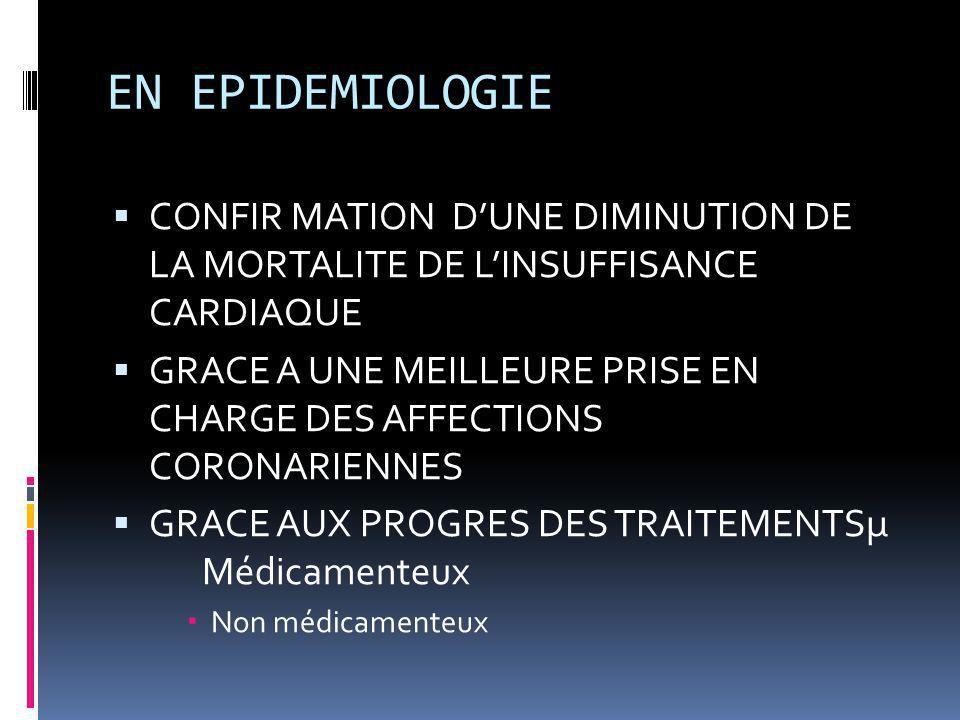 EN EPIDEMIOLOGIE CONFIR MATION D'UNE DIMINUTION DE LA MORTALITE DE L'INSUFFISANCE CARDIAQUE.