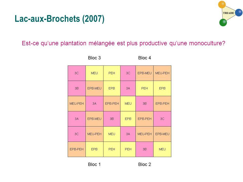 Lac-aux-Brochets (2007) Est-ce qu'une plantation mélangée est plus productive qu'une monoculture