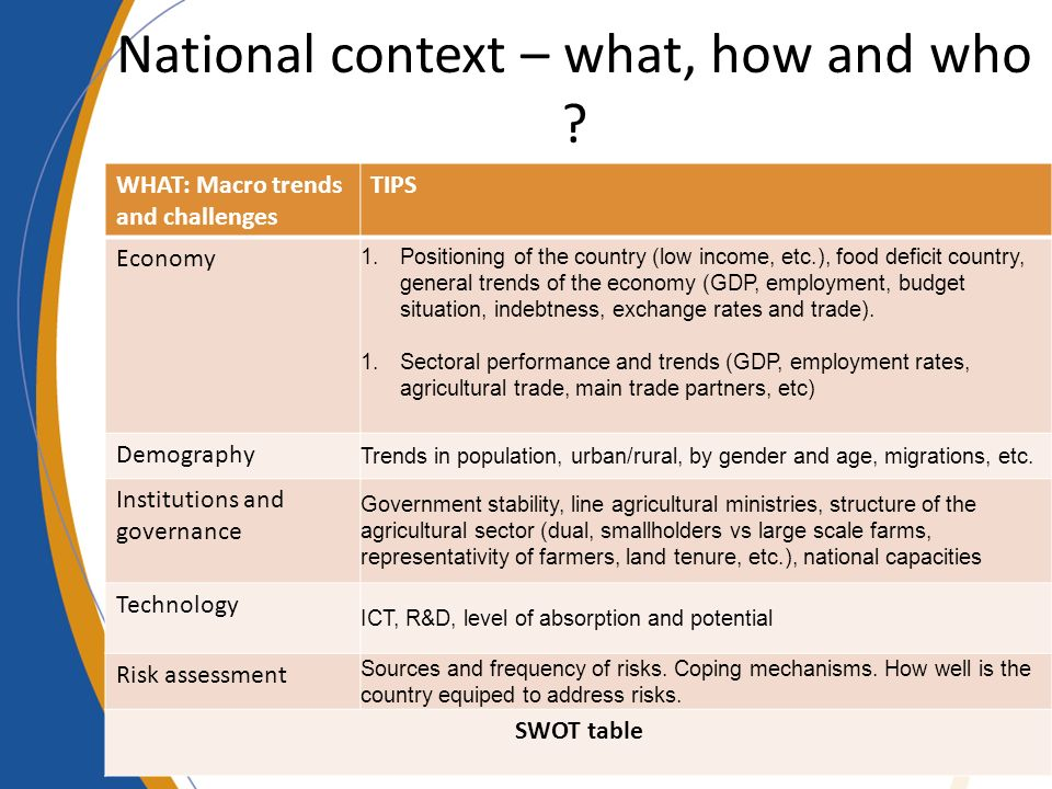 National context – what, how and who