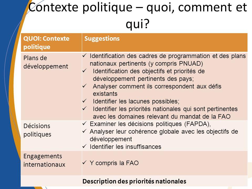 Contexte politique – quoi, comment et qui