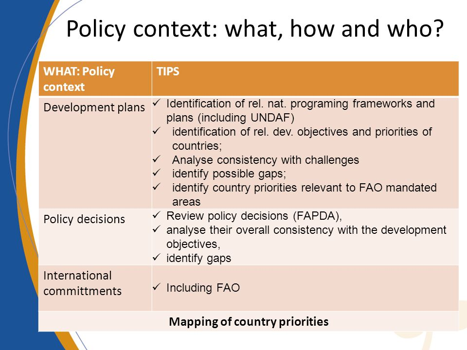 Policy context: what, how and who