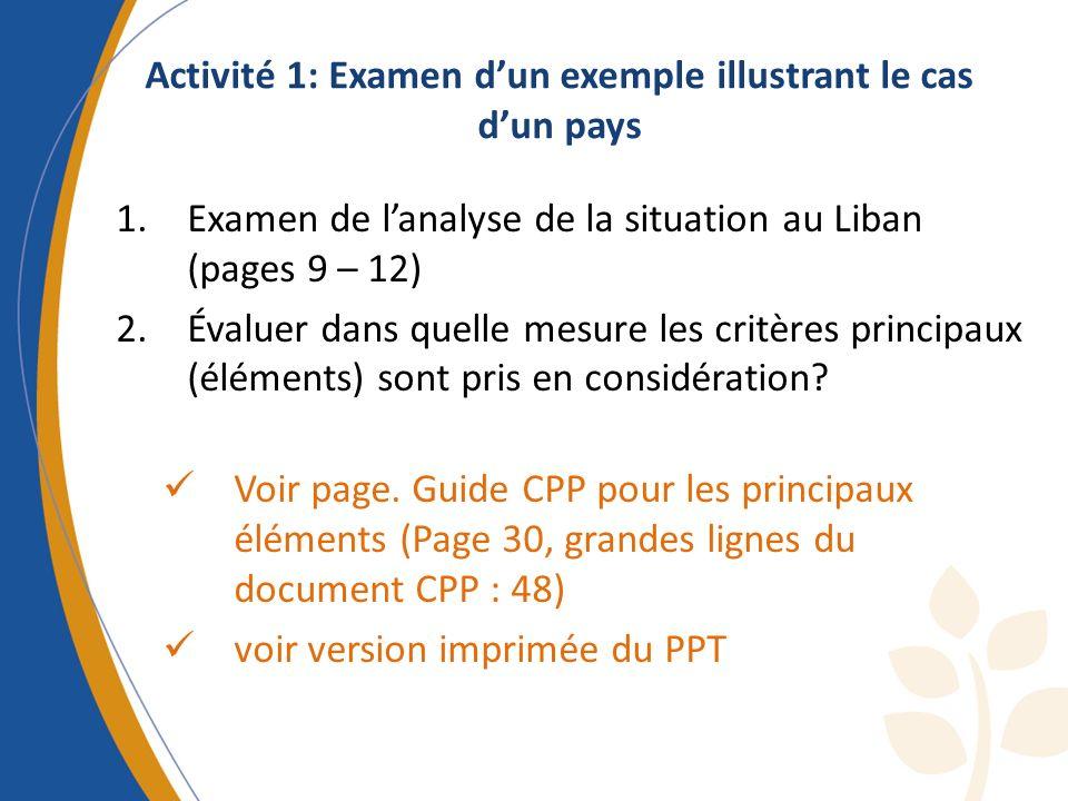 Activité 1: Examen d'un exemple illustrant le cas d'un pays