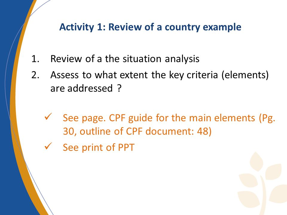 Activity 1: Review of a country example