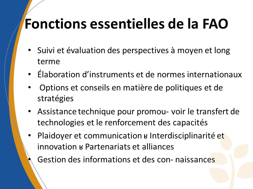 Fonctions essentielles de la FAO