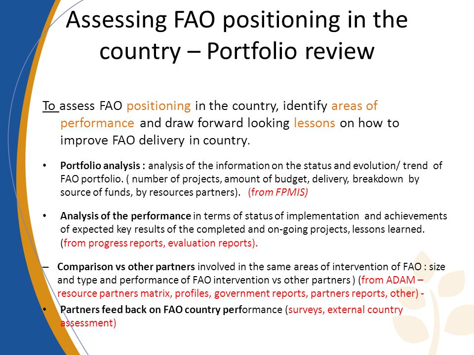 Assessing FAO positioning in the country – Portfolio review