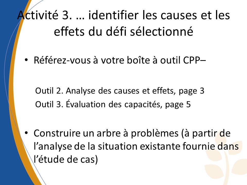 Activité 3. … identifier les causes et les effets du défi sélectionné
