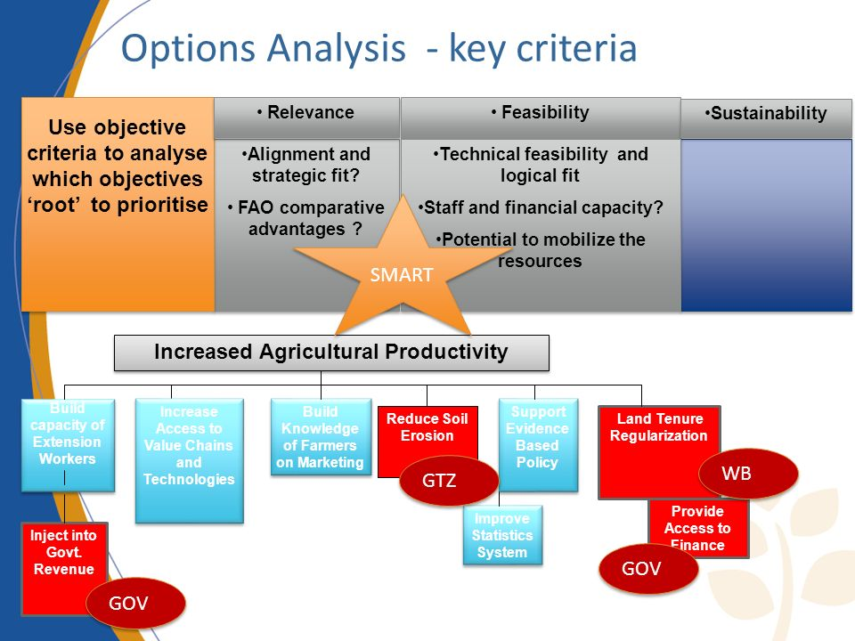Options Analysis - key criteria