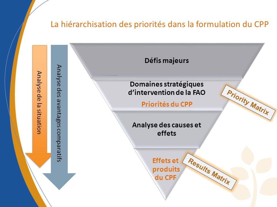 La hiérarchisation des priorités dans la formulation du CPP