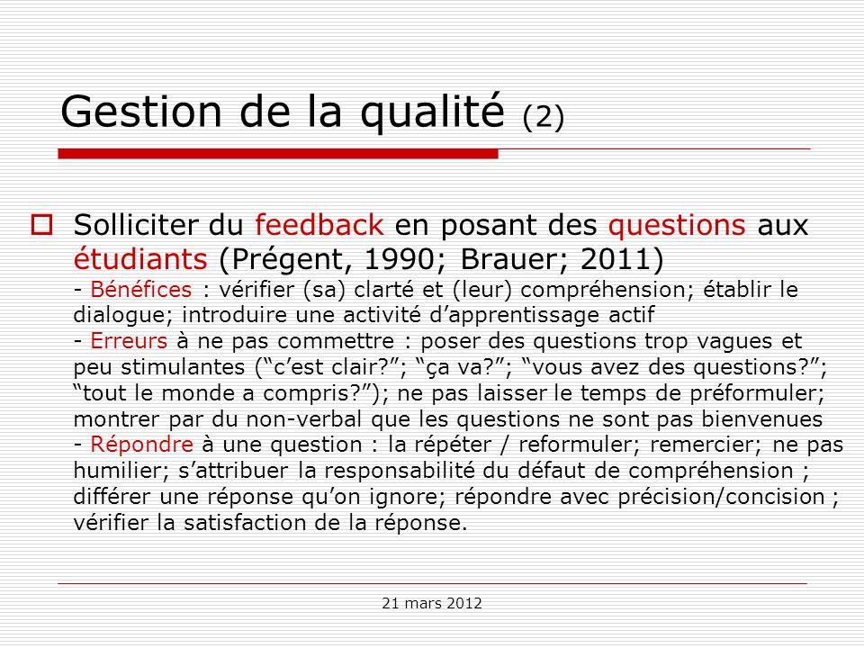 Gestion de la qualité (2)