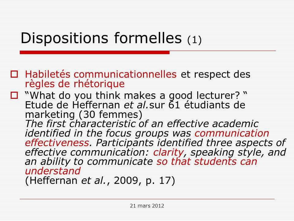 Dispositions formelles (1)