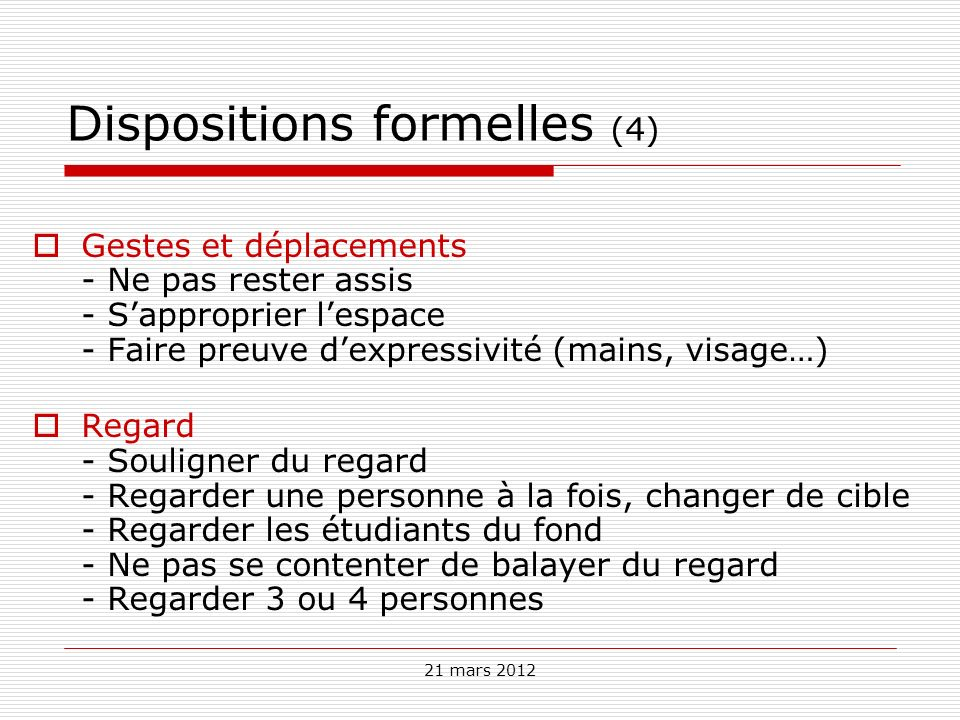 Dispositions formelles (4)