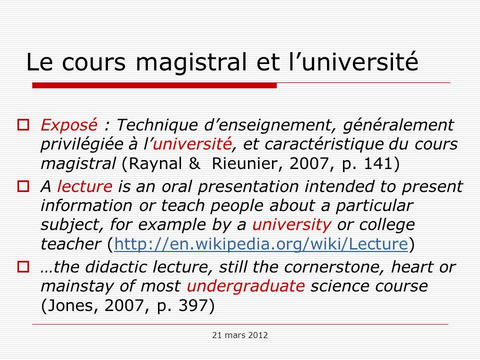 Le cours magistral et l'université