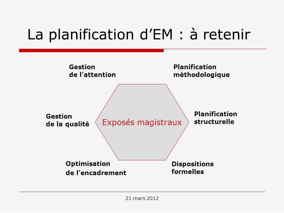 La planification d'EM : à retenir