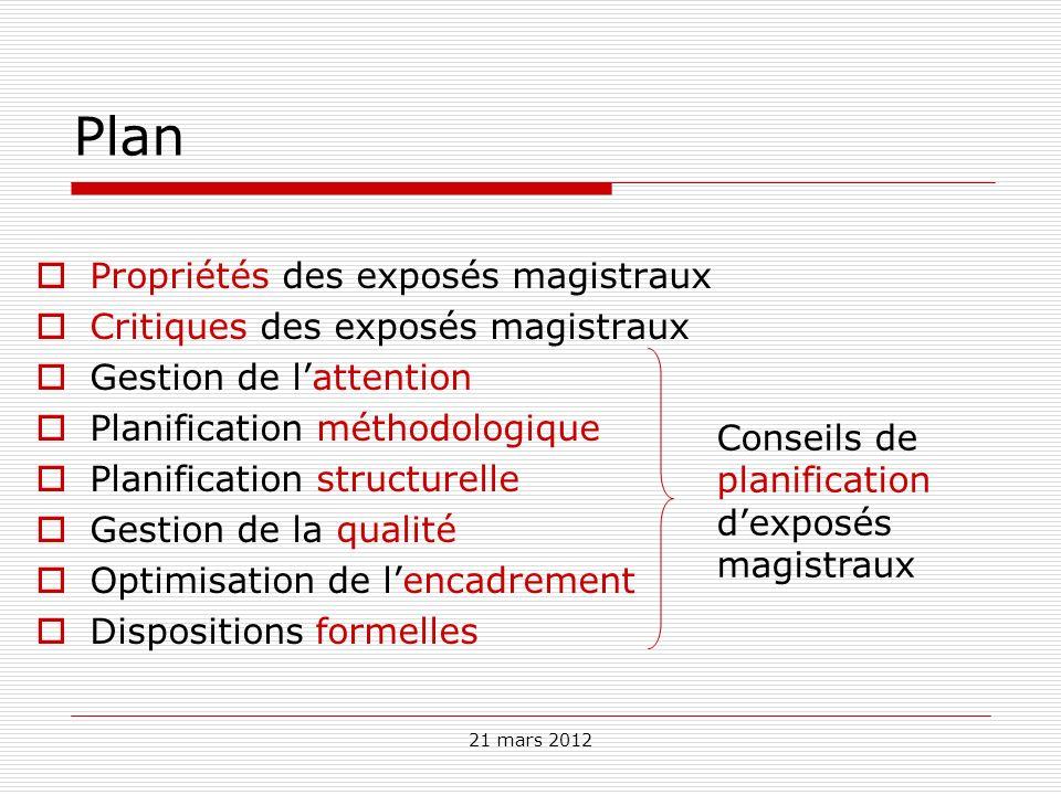Plan Propriétés des exposés magistraux