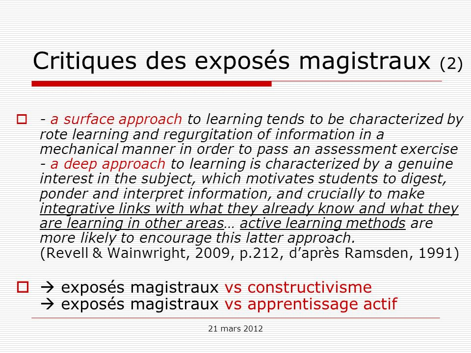Critiques des exposés magistraux (2)