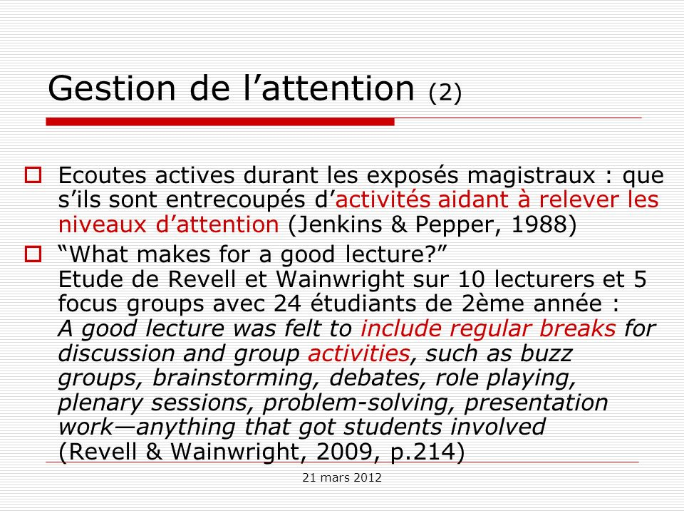 Gestion de l'attention (2)