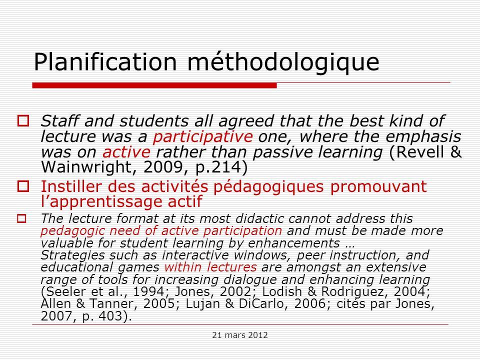 Planification méthodologique