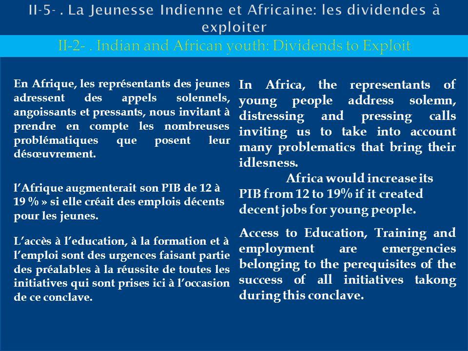 II-5- . La Jeunesse Indienne et Africaine: les dividendes à exploiter