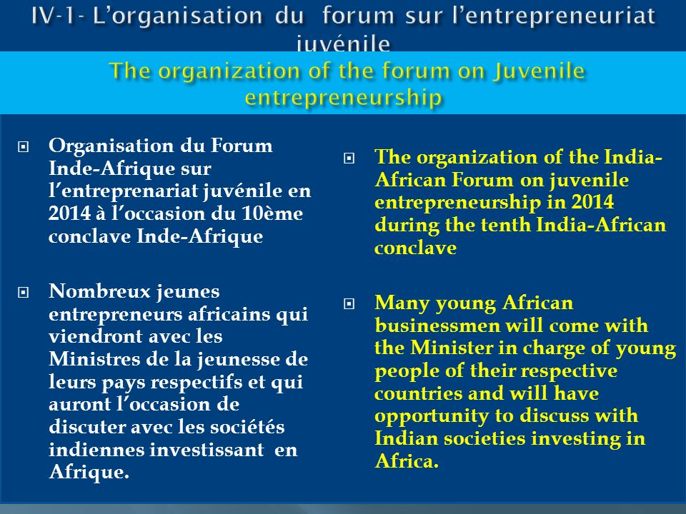 IV-1- L'organisation du forum sur l'entrepreneuriat juvénile