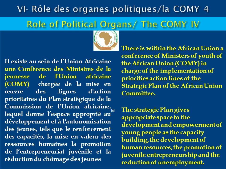 VI- Rôle des organes politiques/la COMY 4