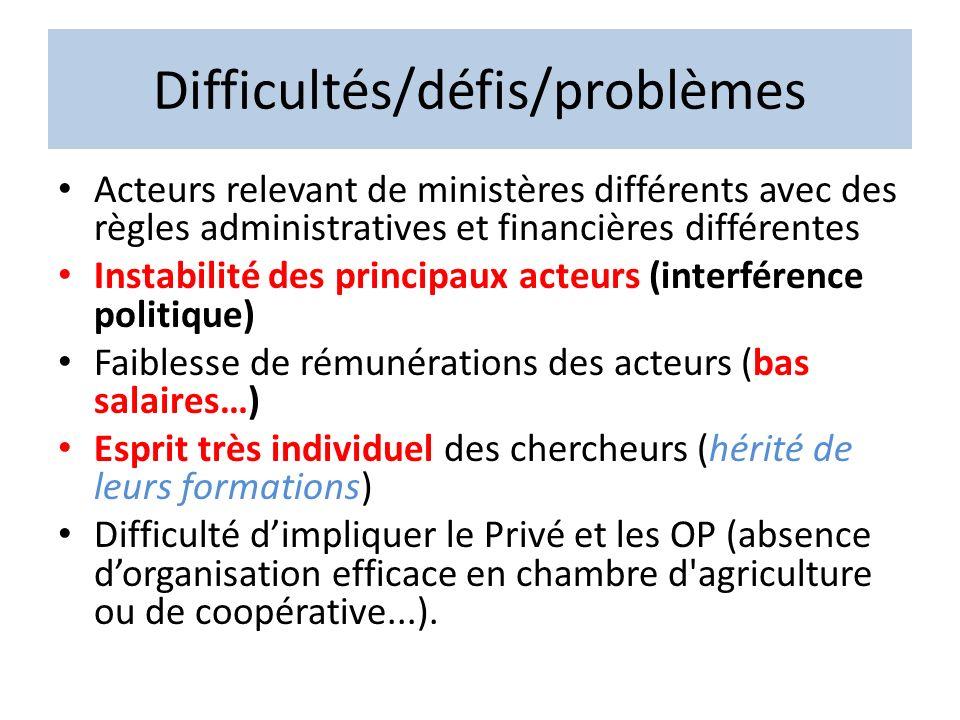 Difficultés/défis/problèmes