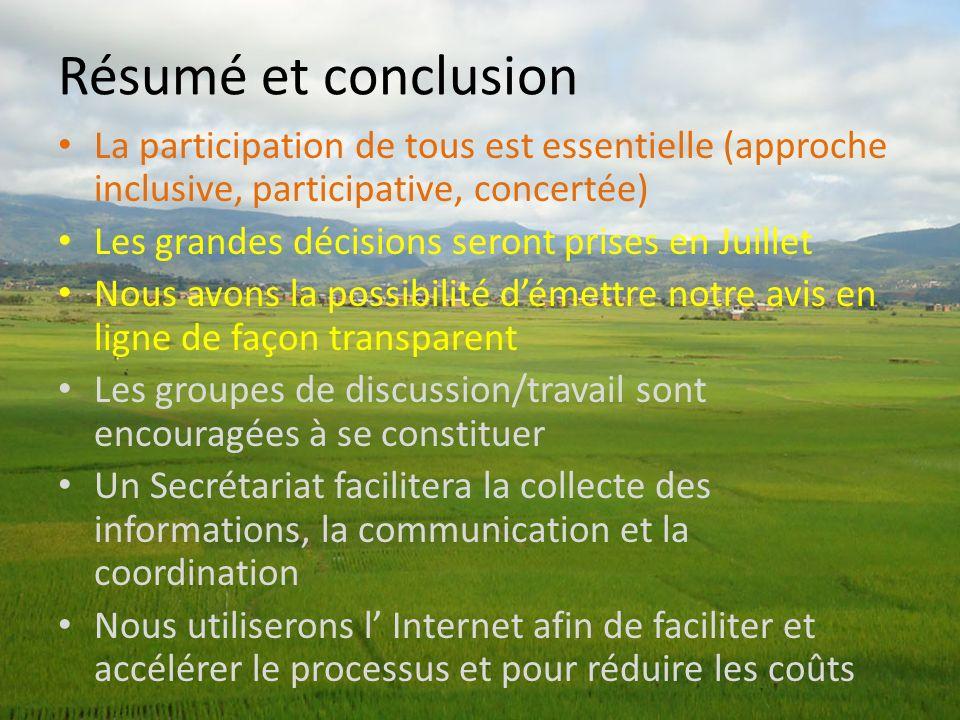 Résumé et conclusion La participation de tous est essentielle (approche inclusive, participative, concertée)