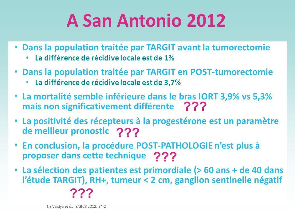 A San Antonio 2012 Dans la population traitée par TARGIT avant la tumorectomie. La différence de récidive locale est de 1%