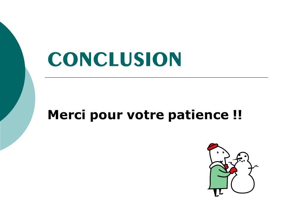 Merci pour votre patience !!