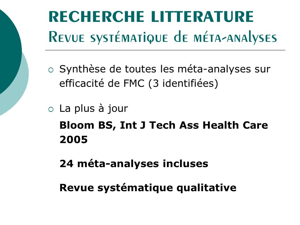 RECHERCHE LITTERATURE Revue systématique de méta-analyses