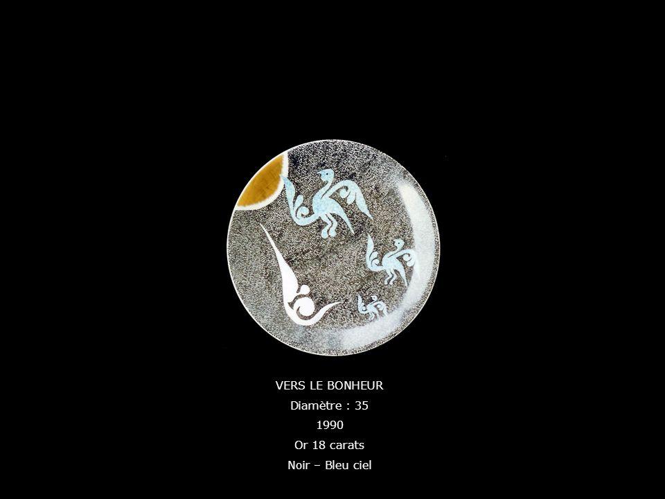 VERS LE BONHEUR Diamètre : 35 1990 Or 18 carats Noir – Bleu ciel