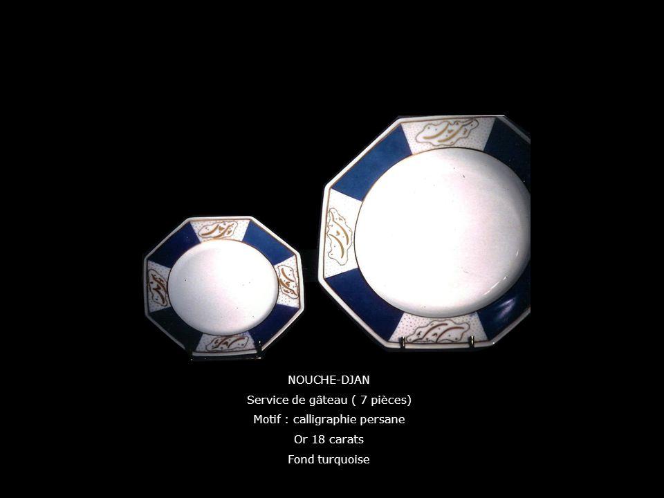Service de gâteau ( 7 pièces) Motif : calligraphie persane