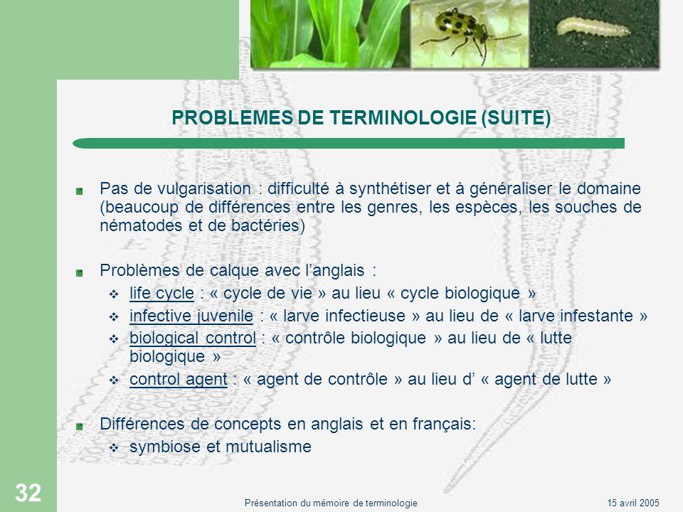 PROBLEMES DE TERMINOLOGIE (SUITE)