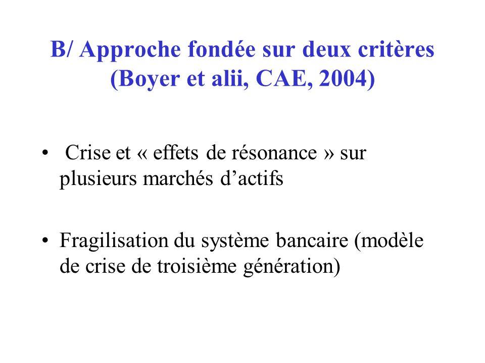 B/ Approche fondée sur deux critères (Boyer et alii, CAE, 2004)