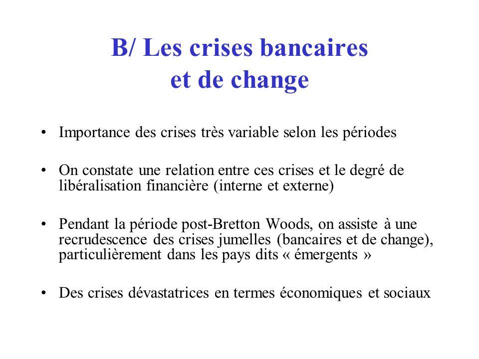 B/ Les crises bancaires et de change