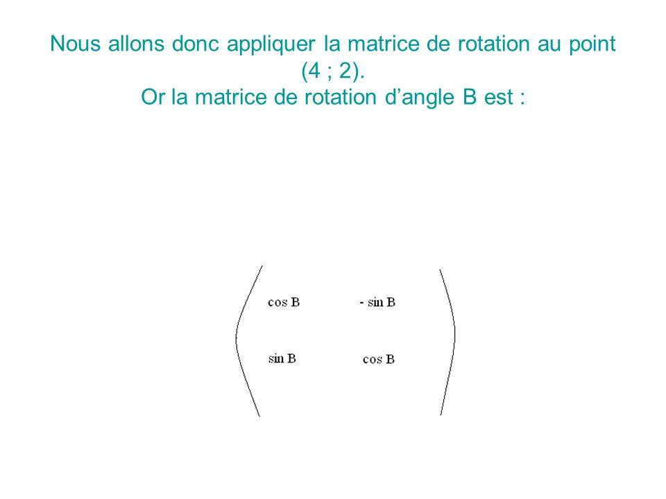 Nous allons donc appliquer la matrice de rotation au point (4 ; 2)