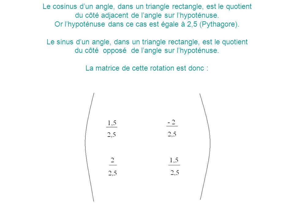 Le cosinus d'un angle, dans un triangle rectangle, est le quotient du côté adjacent de l'angle sur l'hypoténuse.