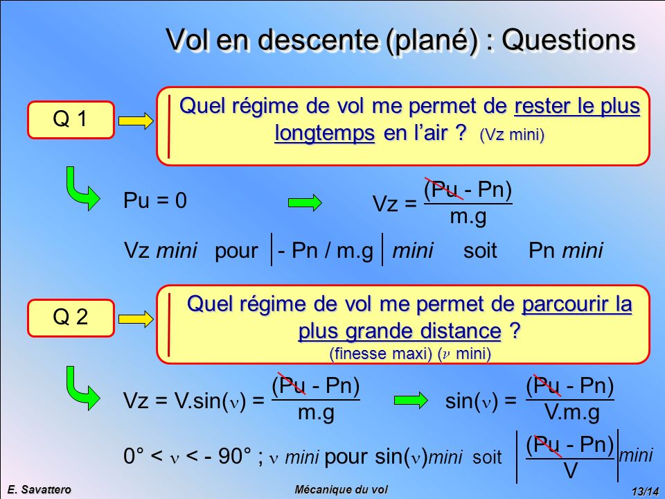 Vol en descente (plané) : Questions