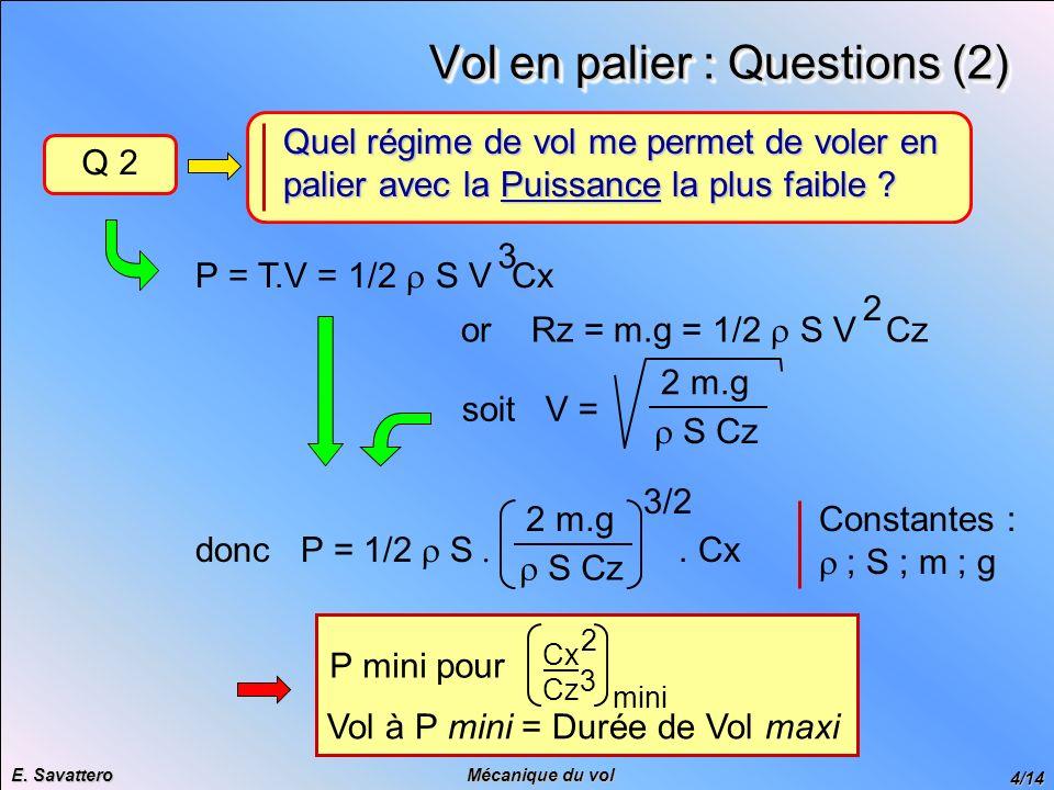 Vol en palier : Questions (2)
