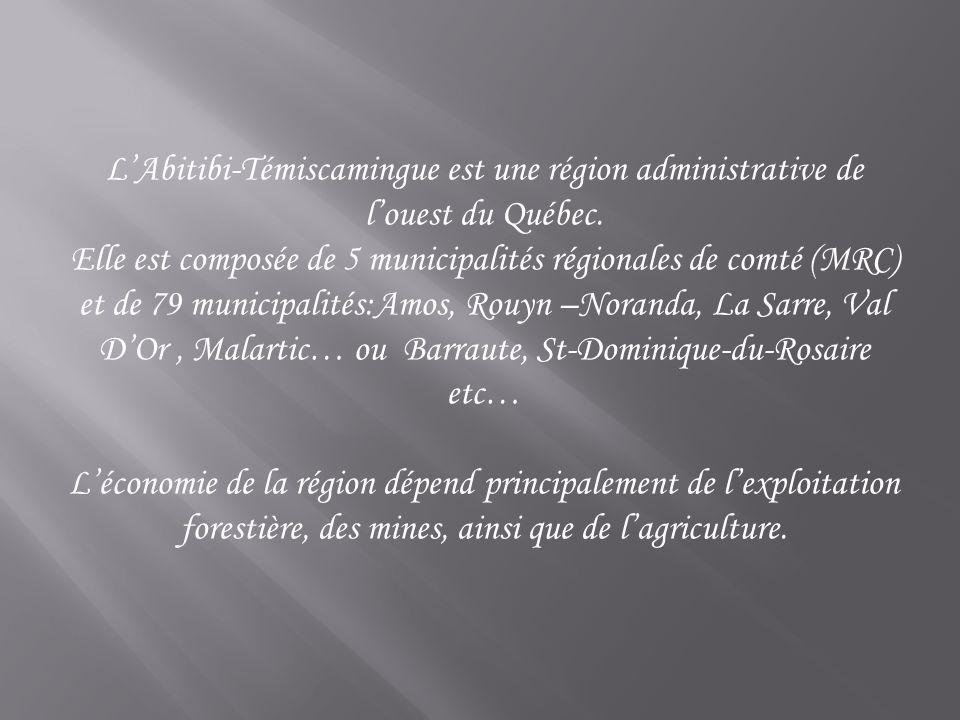 L'Abitibi-Témiscamingue est une région administrative de l'ouest du Québec.