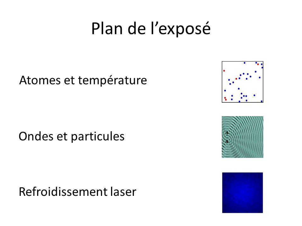 Plan de l'exposé Atomes et température Ondes et particules